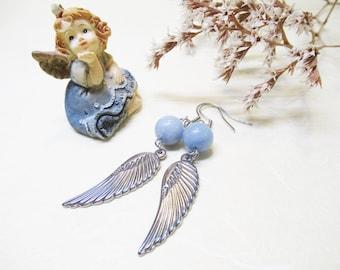 Angelite Earrings Angel Earrings Dangle Bead Earrings Gemstone Earrings Angel Wing Earrings Angel Jewelry Angel Wing Charm Gift for Her