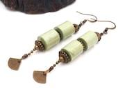 retro pendant green paper earring, women's jewelry, earrings, dying earrings, gift idea, retro jewelry