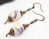 short paper earrings including flower and brass, short earrings, women's earrings, woman jewelry,