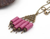 "Short necklace ""organ"" in beaded pink paper cochineal and brass, retro jewelry, women's jewelry, gift idea, women's necklace"