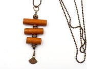 Retro necklace beads of handmade paper orange and brass, women's jewelry, design necklace, gift idea, necklace, long necklace, Christmas