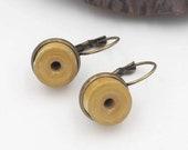 Yellow paper and brass earring, women's jewelry, gift idea, yellow earrings, sleeper curls, original women's curls