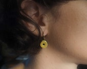 "Earring ""sleeper"" yellow paper cloth and brass"