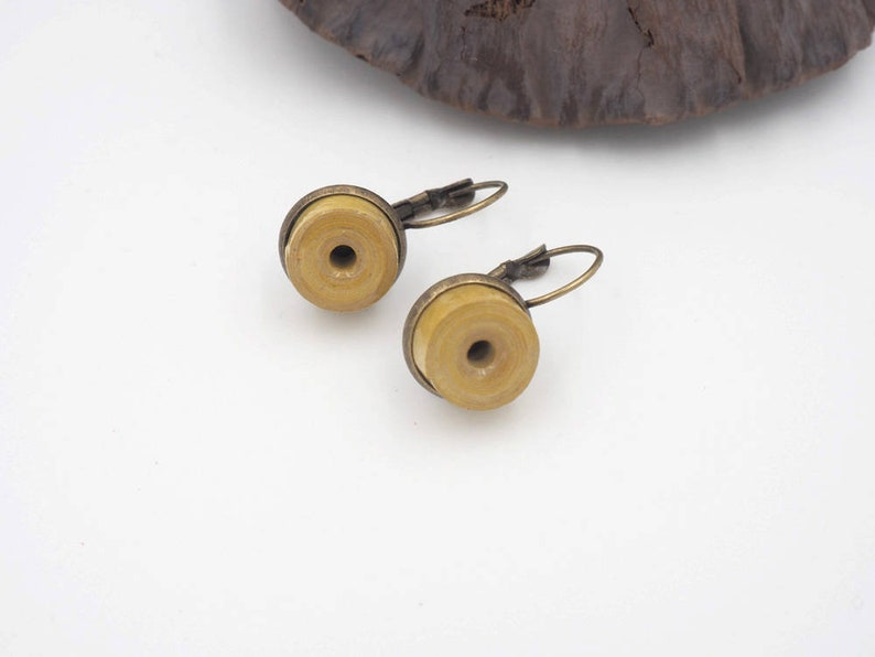 Yellow paper and brass earring women's jewelry gift image 0