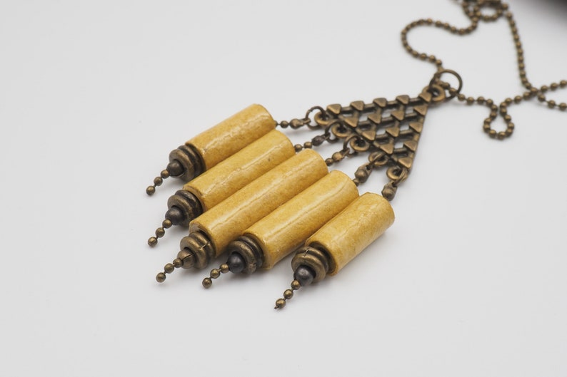 Mustard yellow organ paper cloth and brass NECKLACE image 0
