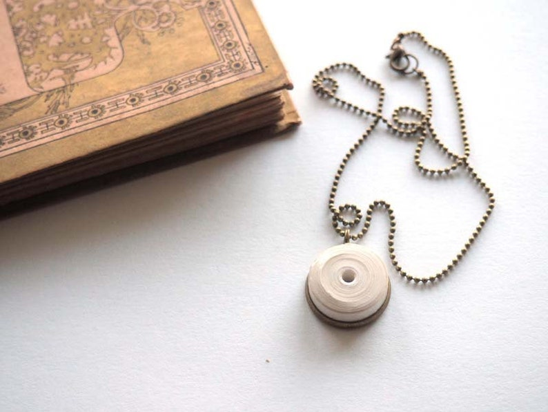 Short pearl necklace of pure white and brass handmade paper image 0
