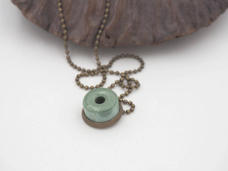 Short necklace mini in pearls of mayan blue paper image 0