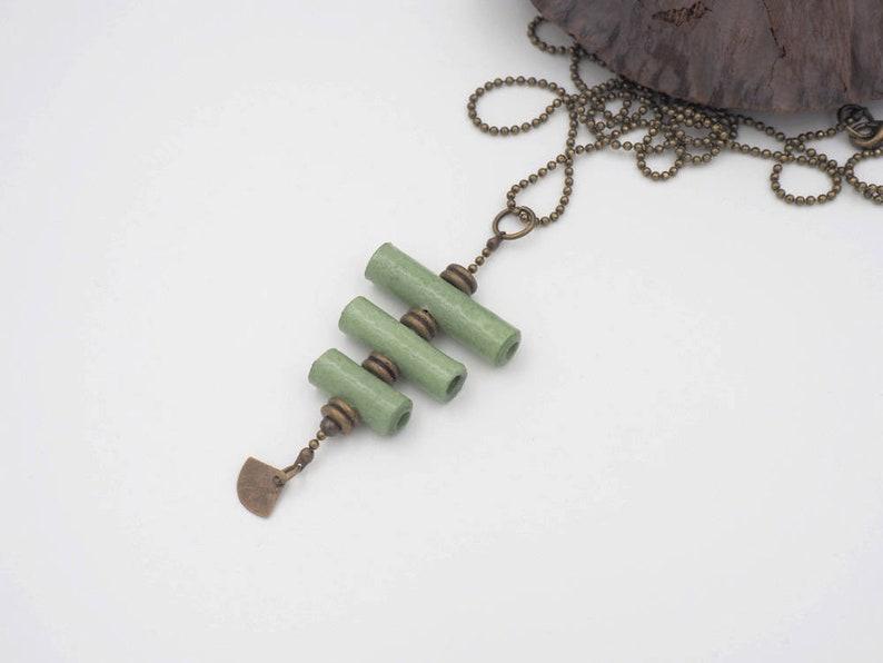 light green and brass handmade paper necklace women's image 0