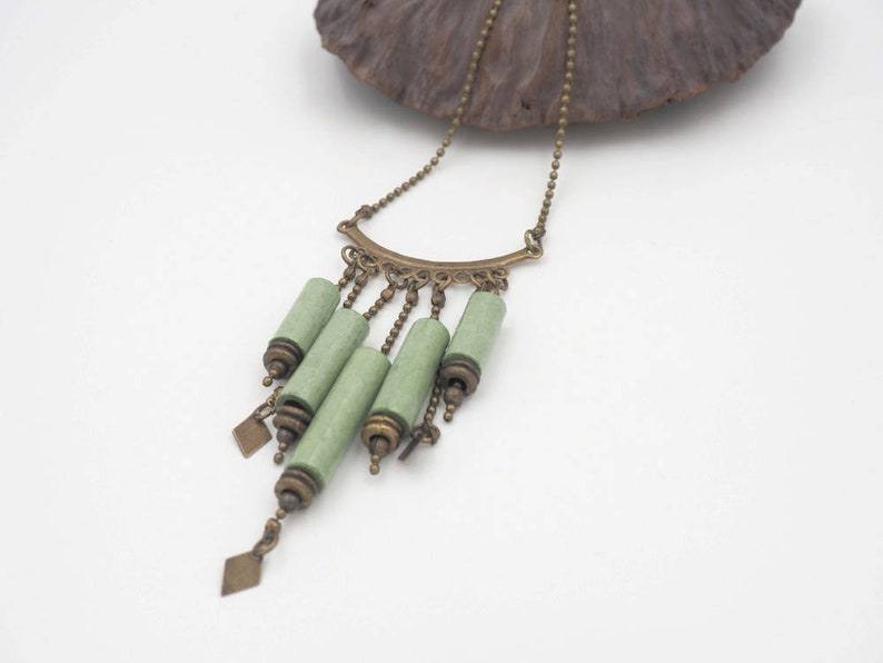 Short green necklace in handcrafted paper and brass beads image 0