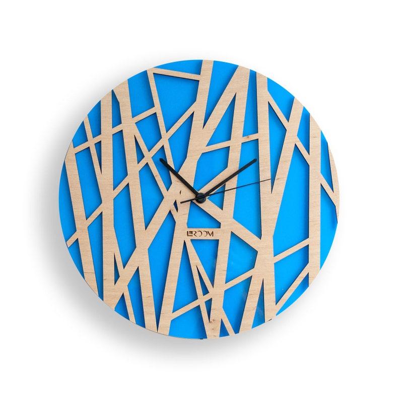 Horloge murale bois «Bambou», moderne mur grande horloge, horloge en bois, bois Decor Orange intérieur en feuilles, contreplaqué de zen hermle, fait à la main