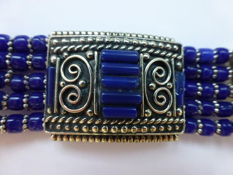 royal blue beaded white metal Ethnictraditionaltribal boho bracelet Bracelet UK seller
