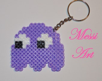 Pac Man Ghost keychain in pyssla hama beads