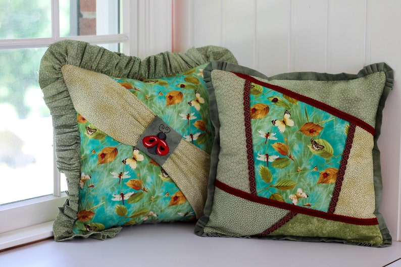 Botanical Dragonfly Patchwork Pillow Cover