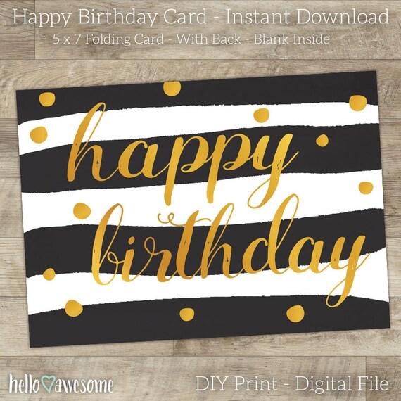 Sale Happy Birthday Card Printable Trendy Black White Etsy