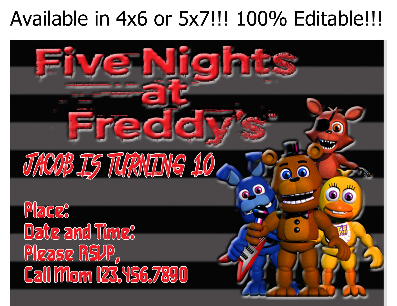 Five Nights At Freddys Birthday Invitation Editable