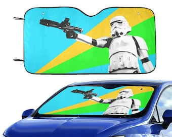 """Colorburst Stormtrooper 55""""x30"""" Car Sun Shade - Star Wars Inspired Car Accessories - Blue Green Yellow - Foldable - Windshield Cover - 501st"""