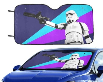 """Blue Purple Colorburst Stormtrooper 55""""x30"""" Car Sun Shade - Star Wars Inspired Car Accessories - Foldable - Windshield Cover - 501st Gift"""