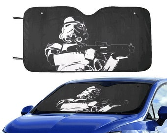 """Stormtrooper Patrol 55""""x30"""" Car Sun Shade - Star Wars Inspired Car Accessories - Black & White - Foldable - Windshield Cover - 501st Gift"""