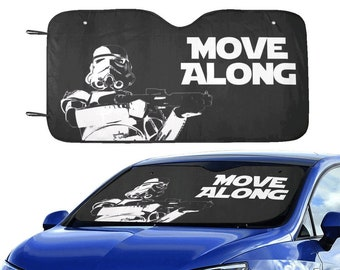 """Move Along Stormtrooper 55""""x30"""" Car Sun Shade - Star Wars Inspired Car Accessories - Black & White - Foldable - Windshield Cover - 501st"""