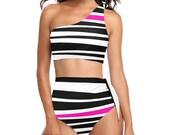 Rogue Pink Stripe High Waisted One Shoulder Bikini Set - Swim Suit - Swim Wear - Bathing Suit - Swimsuit - Black White Stripes - Side Tie