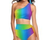 Ombre Rainbow High Waisted One Shoulder Bikini Set - Swim Suit - Colorful Swimwear - Swim Wear - Bathing Suit - Swimsuit - Pride - Vacation