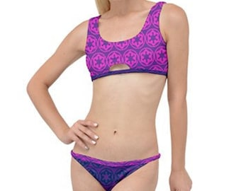 cccaca854d 2 Styles - Imperial Cog Print Little Details Bikini Set - 2 Piece Swimsuit  - Star Wars Inspired - Sexy Geek Fashion - Pink Purple Blue