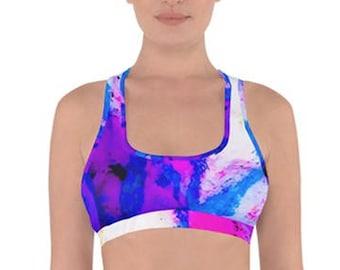 a71b5bafad Cross Back Oil Pastel Sports Bra Top - Women s Active Wear - Roller Derby -  Running - Cycling - Gym Wear - Pink Blue Purple Abstract Print