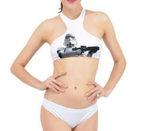 c7d6547488 Storm Patrol White Stormtrooper High Neck Bikini - 2 Piece Swimsuit - Star  Wars Inspired - Sexy Geek Fashion Star Wars Swimwear for Women