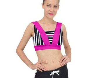 43679272b2fc Rogue Pink Stripe V-Back Sports Bra Top or Bathing Suit Top - Women's  Active Wear Roller Derby Running Cycling - Black White Pink Stripes