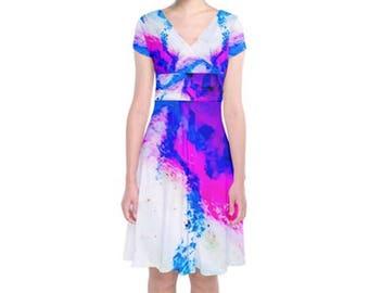 Oil Pastel Short Sleeve Front Wrap Dress - Feminine Spring/Summer 2018 Fashion - Knee Length Hem - Pink Purple Blue Abstract Print