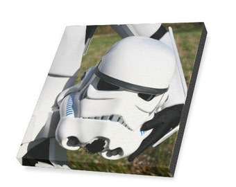 Stormtrooper Lid 4x4 or 6x6 Stretched Canvas Art Print - Star Wars Inspired Wall Art - 501st - Helmet - Photo Nerd Photography - Nerd Cave