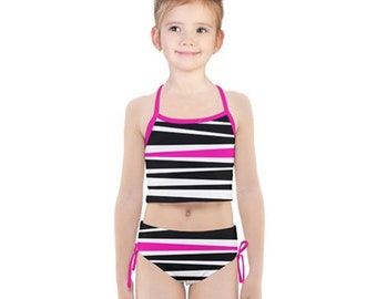 c9a02b1345b4 Girls Rogue Pink Stripe Tankini Swimsuit Set - Black White and Pink Kids' Bathing  Suit - Children's Fashion Swimwear