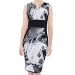 Droid Line Black & White Midi Dress - Star Wars R2-D2 Inspired Women's Fashion - Geek Chic - Bodycon Fit - Artoo