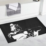 Stormie Black with White Bath Rug - 2 Sizes - Star Wars Inspired Stormtrooper Bathroom Home Decor - Bath Mat