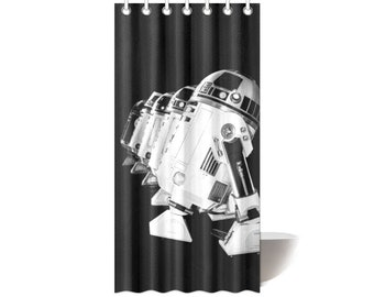 Droid Line In Black Fabric Shower Curtain 36x72