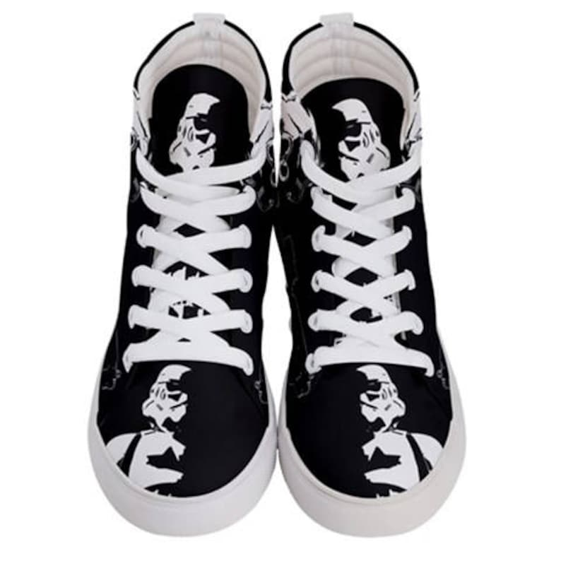 Men/'s Storm Patrol Black /& White High Top Sneakers 501st Footwear Geek Fashion Star Wars Inspired Shoes Stormtrooper