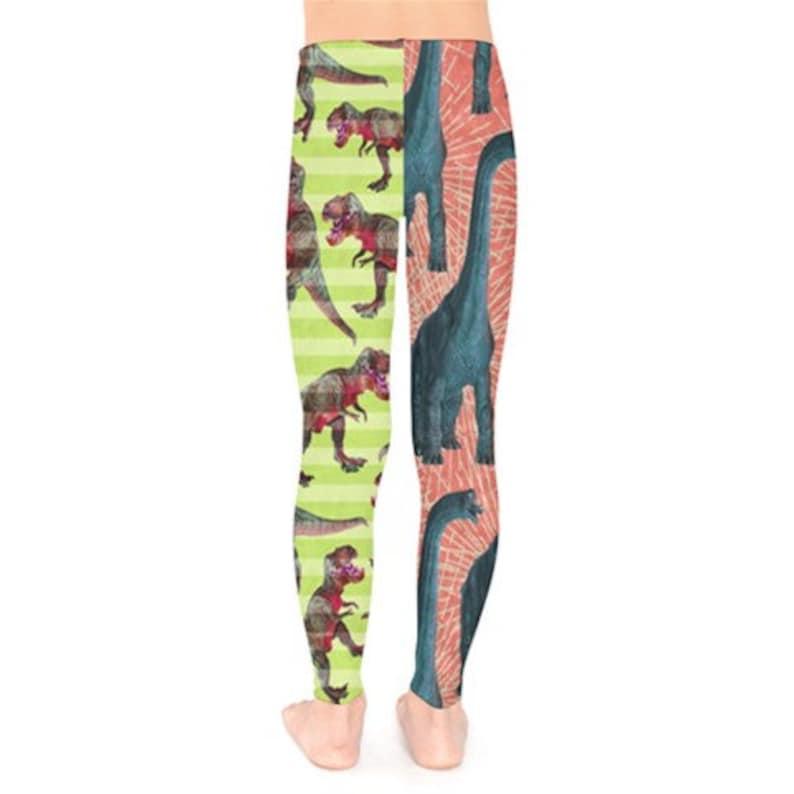 Sizes 2T Dance T-Rex Girl/'s Jester-Style Dinosaur Leggings Junior Roller Derby 18 Kid/'s Leggings -Pink /& Yellow Brachiosaur vs