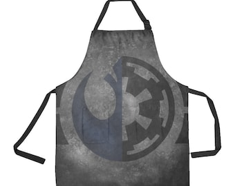 Galactic Duality Apron - Polyester Kitchen Apron w/ Pockets - Tie-Back - Star Wars Inspired Fan Gift 501st - Gray Black Blue - Rebel Empire