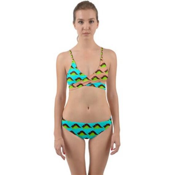 new photos how to purchase best deals on Stego Wrap-Around Bikini - 2 Piece Swimsuit - Cute Blue & Salmon Dinosaur  Print Women's Swimwear - Summer Fashion - Stegosaurus