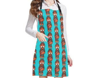 Customizable Chewie Print Apron - Chewbacca Kitchen Apron with Pockets - Tie-Back - Star Wars Inspired Fan Gift - Blue Brown Black