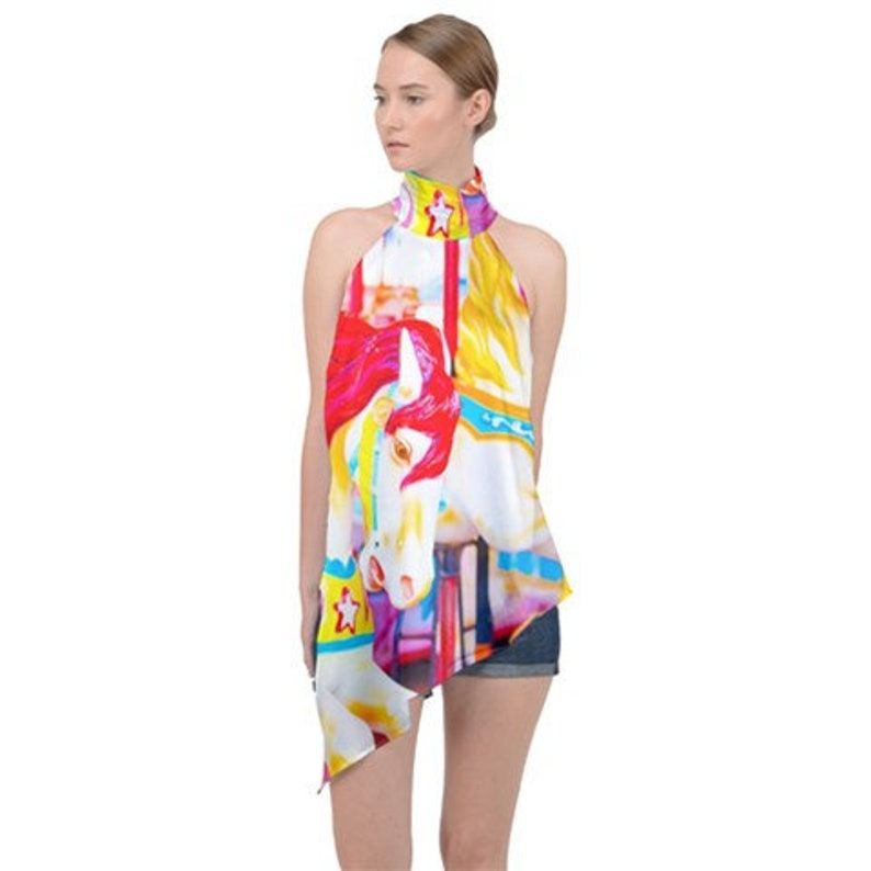 Carousel Horses Sleeveless Crop Top Summer Carnivale Photography Inspired Fashion Coney Island Collection Colorful Graphic Print