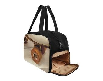 Retro Skates Fitness Handbag - Roller Skates Print - Roller Girl - Roller Skating - Gym Travel Skate Bag - Shoe Compartment - Personalize