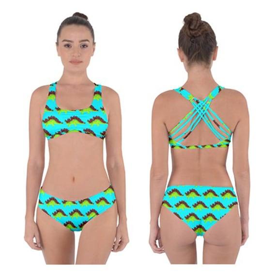 where can i buy best value exclusive deals Stego Criss-Cross Bikini - 2 Piece Swimsuit - Cute Sky Blue Dinosaur Print  Women's Swimwear - Summer Fashion - Stegosaurus