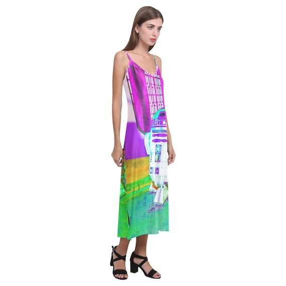 Star Wars Inspired Fashion Sleeveless R2-D2 Geek Girl Artoo Detoo Rainbow Droid Alcestis Slip Dress Neon Spaghetti Strap
