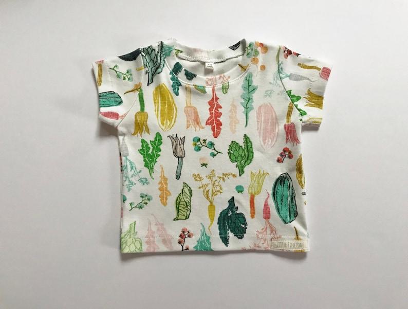 Organic baby t shirt vegetable print 9mos  8 veggies image 0
