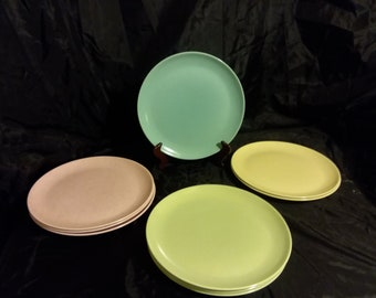 Lot of 9 Vintage Monte Rey Dinner Plates Made in California- Assorted colors