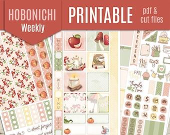 Hobonichi Weeks Weekly Printable Planner Stickers - COZY AUTUMN Hobonichi Planner Stickers, Weekly Printable Stickers, Journal  - Cut file