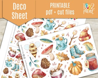 Autumn Vibes Deco Planner Stickers, Fall Decorative Printable Stickers, Character Sticker, Functional, Bullet Journal, Hobonichi - CUT FILES