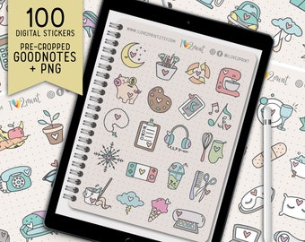 Planner Icons GoodNotes Sticker Book, Cute Icons Digital Stickers, Pre Cropped for GoodNotes, Individual PNG for Notability, Noteshelf, Xodo