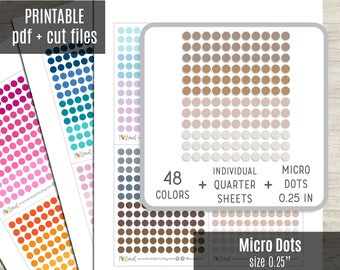 Micro Dot Planner Stickers, Tiny Dot Circles Printable Stickers, Planner Sticker, Bullet Journal, Hobonichi, Erin Condren, Cut Files